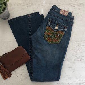 True Religion •RARE• Buddha Embroidered Flare Jean